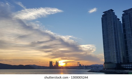 the sunset of Haeundae
