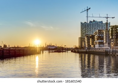 Sunset at Hafencity in Hamburg HDR