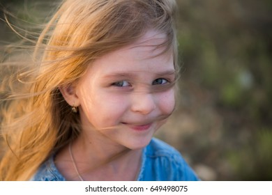 sunset, hair at sunset, the girl with a smile, happy smile, happy child