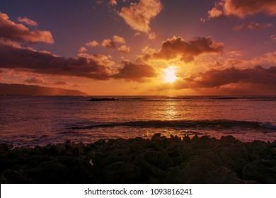 Sunset at Haleiwa beach , Northshore Oahu, Hawaii USA