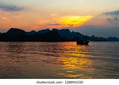 Sunset in Halong Bay, Vietnam – set in the gulf of Tonkin, Halong Bay is a UNESCO World Heritage Site, famous for its karst formations. It is the most popular tourist destination in Vietnam
