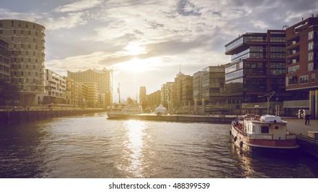 Sunset at Hamburg old town