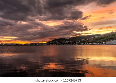 Sunset in Hammerfest, near Nordkapp, Finnmark, Northern Norway