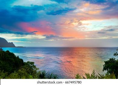 Sunset of Hanalei Bay, Kauai