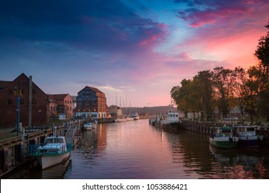 Sunset in the harbor. Klaipeda, Lithuania