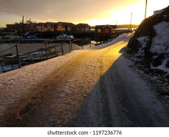 Sunset at the harbor in Larvik, Norway. Cold winter day in Norway.