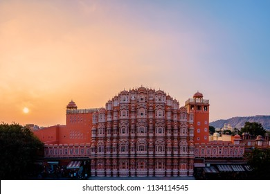 Sunset at Hawa Mahal, Palace of Winds, Jaipur, India