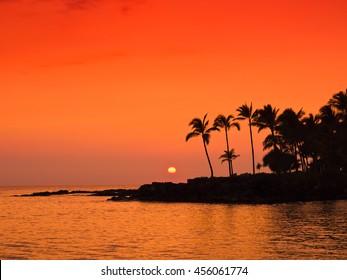 Sunset of Hawaii Island