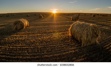 A sunset at the hay bale, Romania