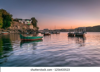 Sunset in Heisa island ,nile and reflection of boats in Aswan Egypt