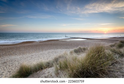 Sunset at Hengistbury Head near Bournemouth in Dorset