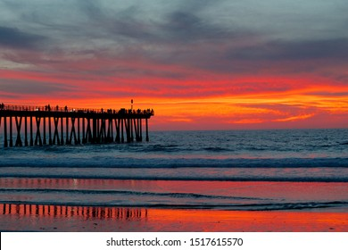 Sunset at Hermosa Beach, Los Angeles, California, USA