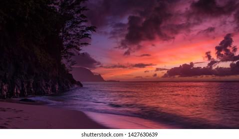 Sunset At Hideaways Beach in Kauai