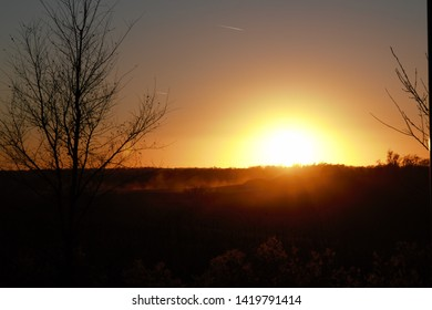 Sunset from a hill in Omaha with silhouette of trees in the fall