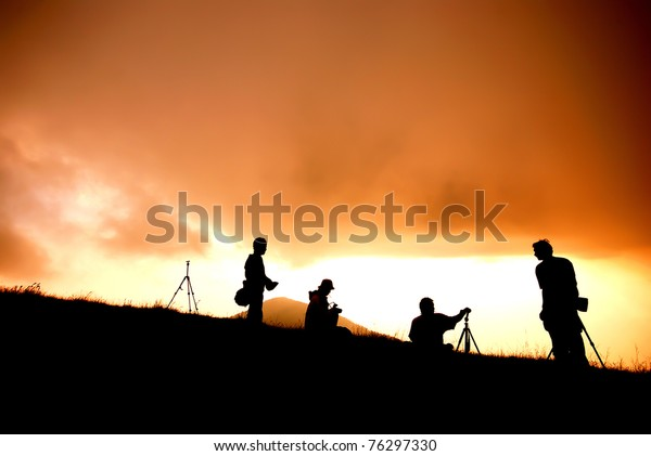 Sunset in the hill sihouette photographer