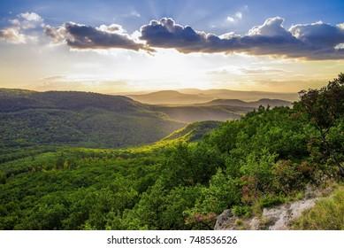 Sunset at the hillside