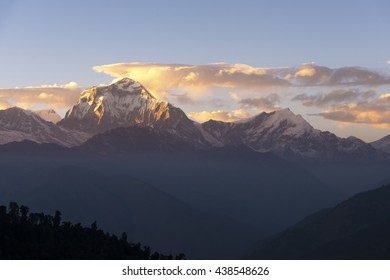 Sunset Himalaya Mountains View from Poon Hill