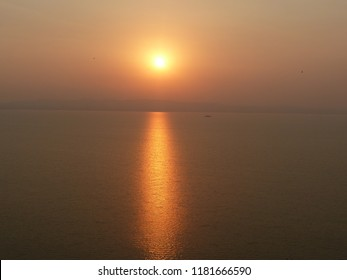 SUNSET AT HIRAKUD  DAM