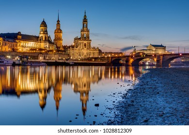 Sunset at the historic center of Dresden with the river Elbe