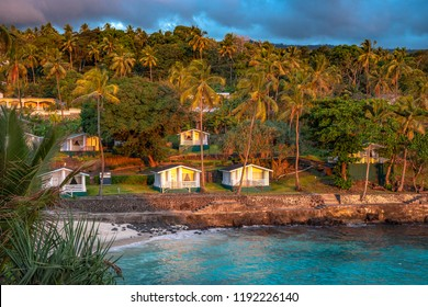 Sunset in holiday paradise resort on Grand Comore island, Comoros. Beautiful sunset light of sun going into the sea. Villas on the beach with private beach. Moroni Comoros, Itsandra beach resort hotel