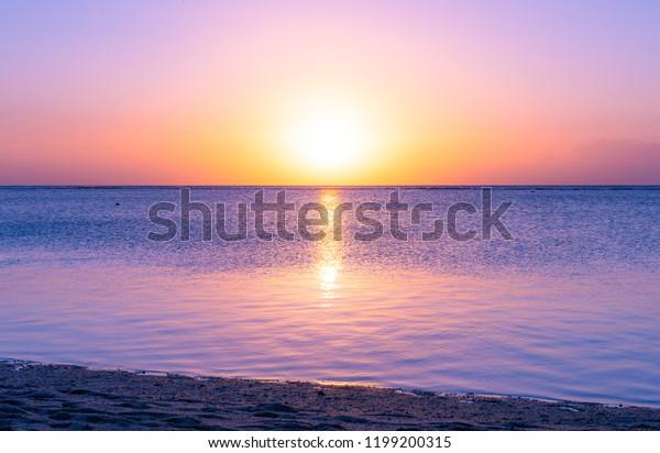 Sunset Holiday Paradise Resort On Mauritius Stock Photo (Edit Now