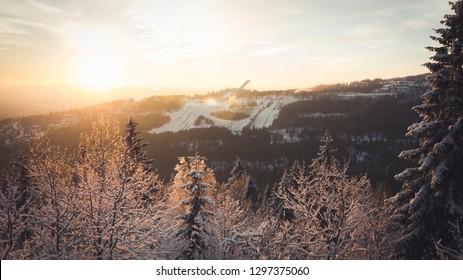 Sunset at Holmenkollen oslo norway ski jump skiing jumping sports arena