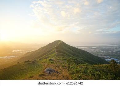 Sunset with Hong Kong mountain