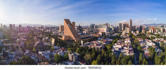 Sunset at Horacio Avenue near Polanco. Panoramuc aerial view near the Palacio de Hierro, you can see in the background the famous mall Antara, Mexico city