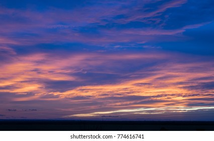 sunset horizon and blending the colors