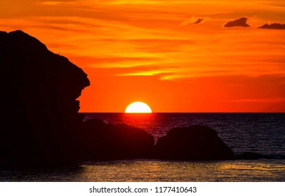 Sunset horizon sea water landscape. Sunset sea horizon panorama. Orange sunset sea horizon view at sunset