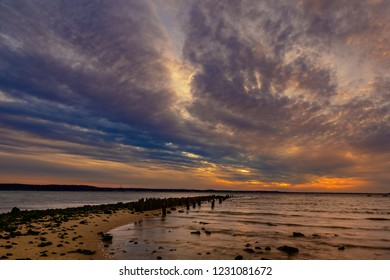 Sunset at Horseshoe Cove in Highlands, New Jersey.