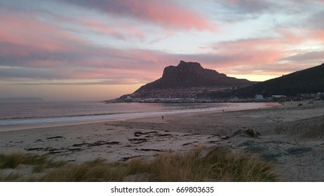 Sunset at Hout Bay beach, near Cape Town, Western Cape, South Africa