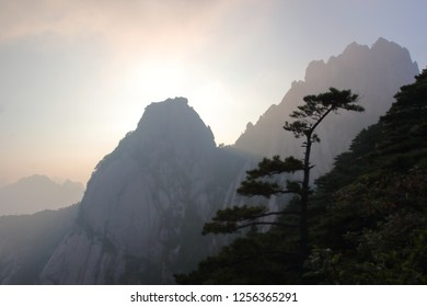 Sunset in Huangshan, Huangshan  City, Anhui Province, China.