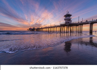 Sunset from Huntington Beach along the coast of Southern California