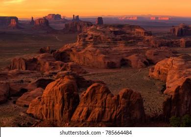 Sunset in Hunts Mesa navajo tribal majesty place near Monument Valley, Arizona, USA