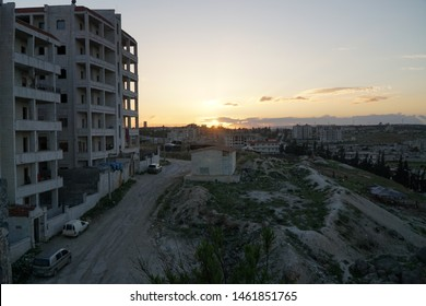 Sunset in idlib/Syria (bombed buildings)