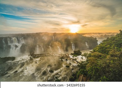 Sunset of Iguazu fall from foz do iguacu, Iguazu National Park - UNESCO World Heritage Centre, Brazil