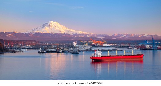 Sunset Illuminates Mt Rainier and The Port Of Tacoma Port of Tacoma, Washington