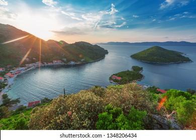 Sunset image of Prozurska luka at island Mljet in Croatia