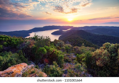 Sunset image from viewpoint Montokuc at Mljet island.Croatia