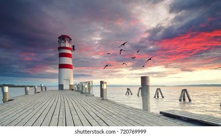 Sunset Impression of Lighthouse at Lake Neusiedl (Podersdorf am See, Burgenland, Austria)