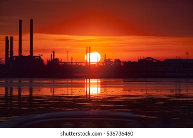 Sunset at Industrial landscape in Marghera, near Venice, Italy