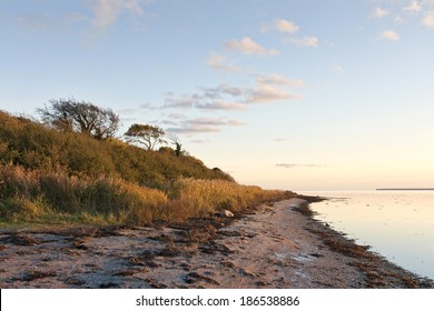 Sunset at the inlet near Horsens, Denmark. Copy space