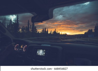 sunset from inside of truck