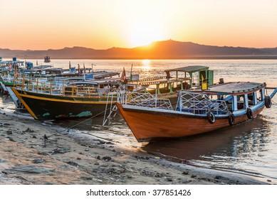Sunset in Irrawaddy River, Bagan, Myanmar ,view form Bupaya bagon.Irrawaddy River i,Ayeyarwady River, Ayeyarwaddy River