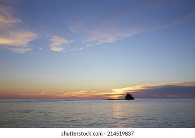 sunset & island
