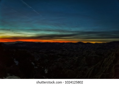 Sunset in January with no snow in Escalante-Staircase national park Utah.
