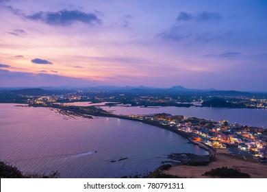 Sunset at Jeju Do Seongsan Ilchulbong , Jeju Island at Night, South Korea