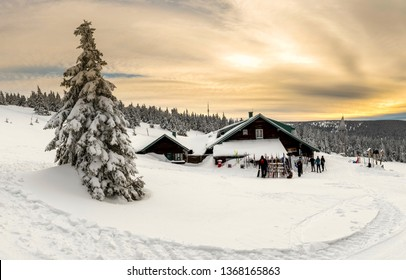Sunset in Jeseniky mountains, winter, Czech Republic