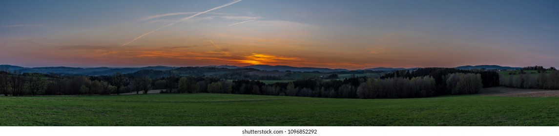 Sunset with Jested hill near Roprachtice village in spring evening
